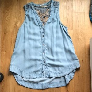 Anthropologie Holding Horses woven chambray tank